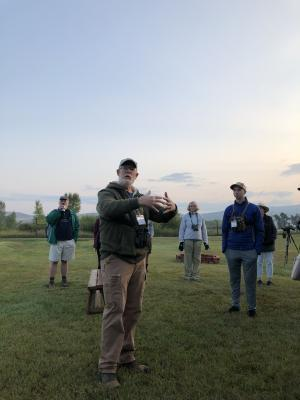 Paul Tebbel speaking at crane-viewing