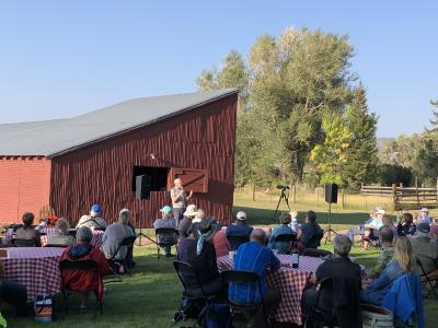 Saturday night picnic dinner with Ted Floyd speaking